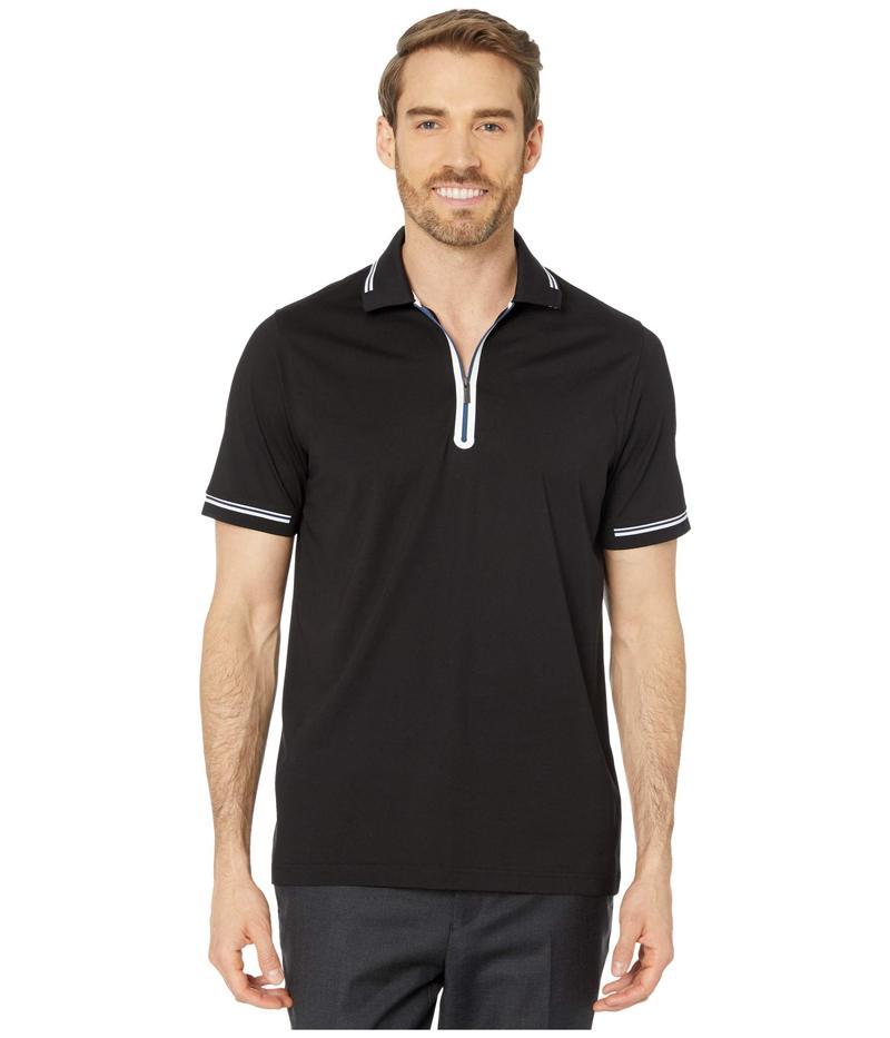ブガッチ メンズ シャツ トップス Gastone Short Sleeve Knit 1/2 Zip Polo Black