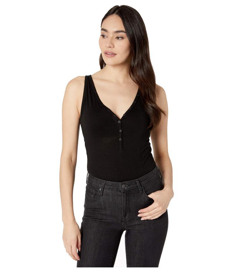フィランソロピー レディース シャツ トップス Phuket Sleeveless Henley Bodysuit in Organic Cotton Black Cat