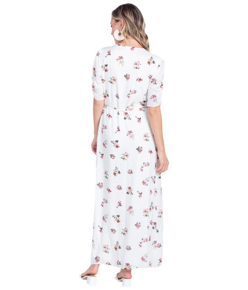 アメリカンローズ レディース ワンピース トップス Olive Short Sleeve Floral Maxi Dress Ivory