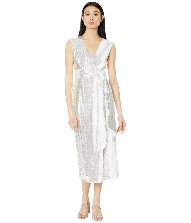 バッジェリーミシュカ レディース ワンピース トップス V-Neck Sequin Wrap Dress White