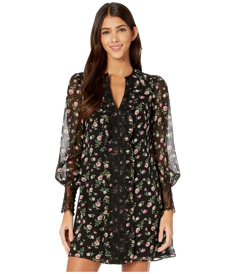 ナネットレポー レディース ワンピース トップス Rose Chiffon Dress Black Multi:ReVida 店