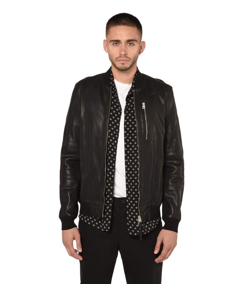 オールセインツ メンズ コート アウター Kino Leather Bomber Jacket Black