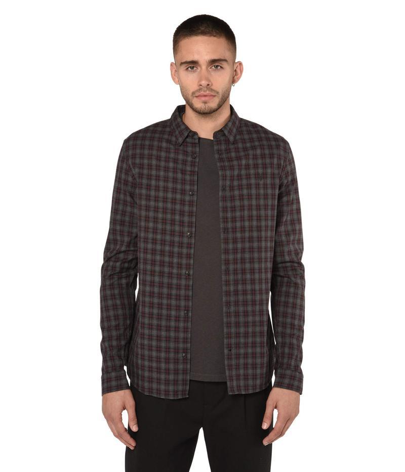 オールセインツ メンズ シャツ トップス Traxler Long Sleeve Shirt Charcoal/Oxblood