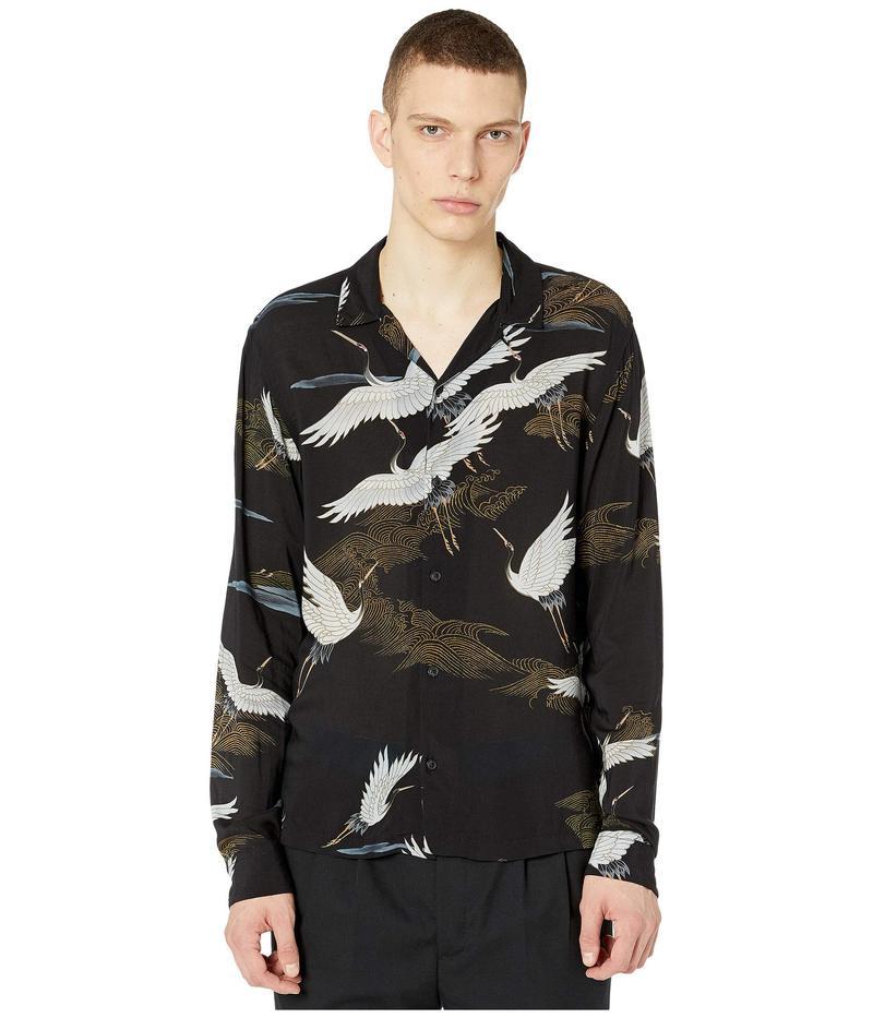 人気特価 オールセインツ メンズ シャツ トップス Yonder Long Sleeve Shirt Jet Black, アドヴァンス ジャパン 4b7b1be3