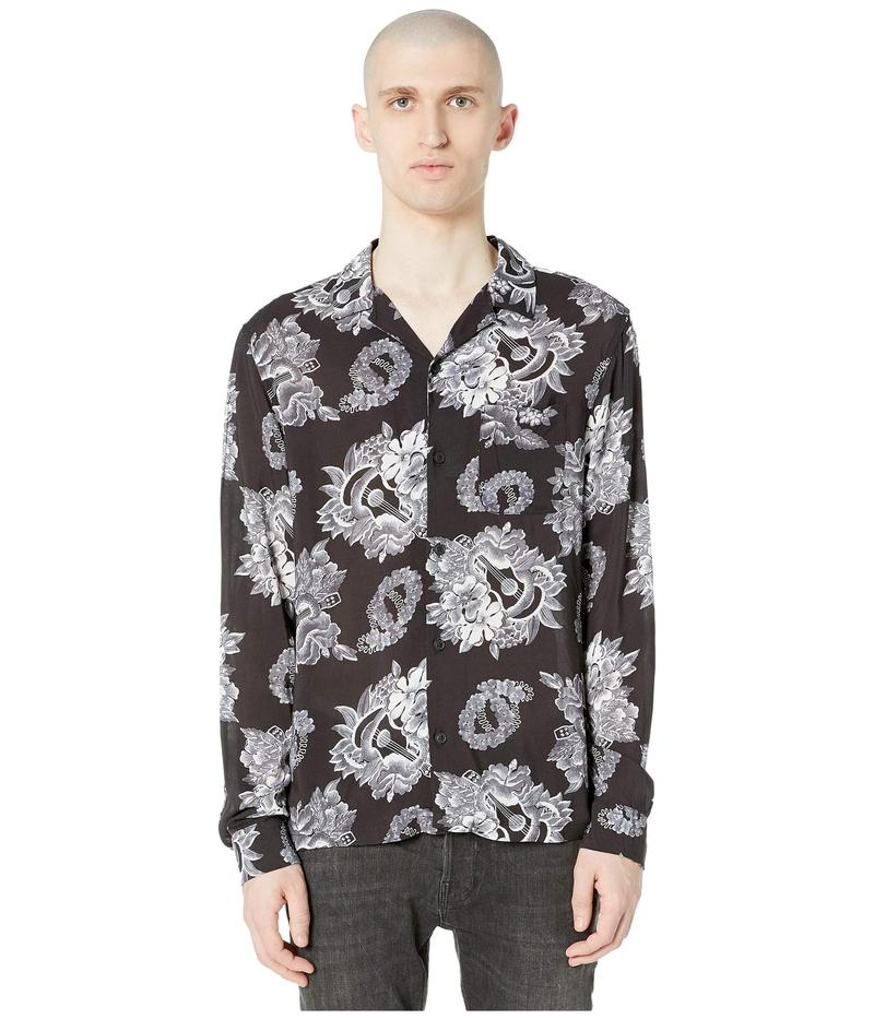 オールセインツ メンズ シャツ トップス Garland Long Sleeve Shirt Black