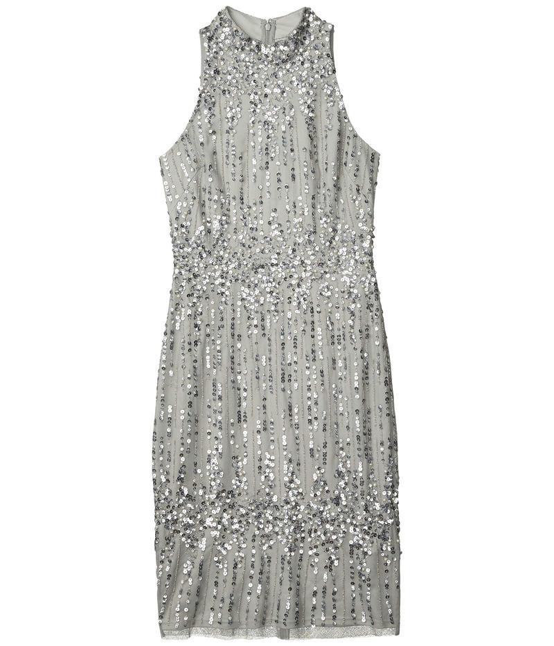 アドリアナ パペル レディース ワンピース トップス Beaded Pearl Cocktail Dress Blue Mist