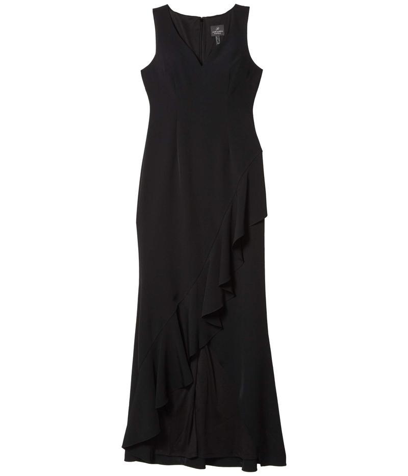 アドリアナ パペル レディース ワンピース トップス Asymmetrical Ruffle Gown Black