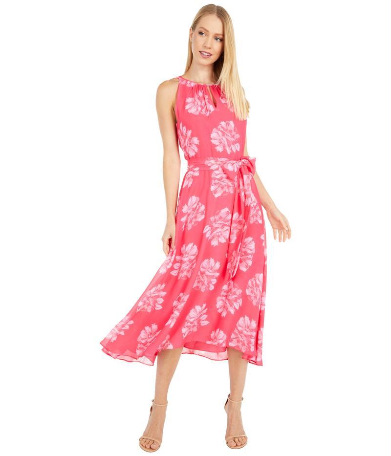 タハリ レディース ワンピース トップス Floral Chiffon Hi-Low Hem Halter Dress Hot Pink Peony