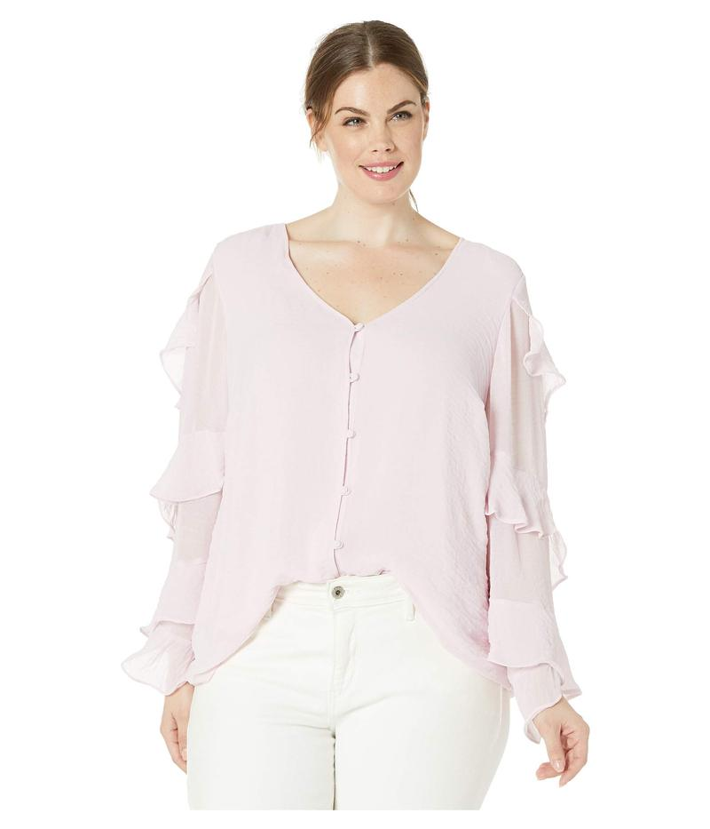 ヴィンス カムート レディース シャツ トップス Plus Size Tiered Ruffle Long Sleeve Button Front Blouse Pink Haze