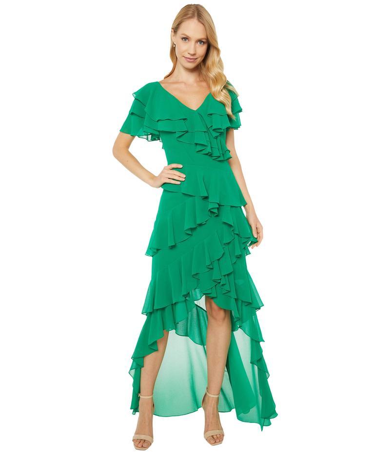 バッジェリーミシュカ レディース ワンピース トップス V-Neck Flutter Sleeve Ruffle Gown Palm Green