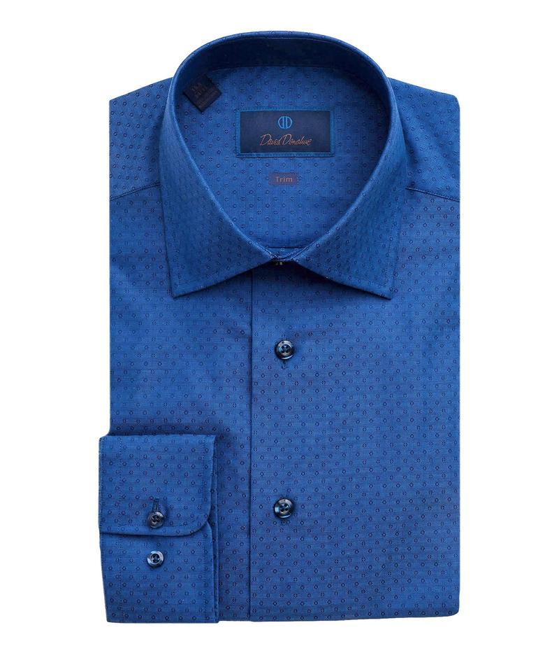 【楽天最安値に挑戦】 デイビッドドナヒュー メンズ シャツ トップス Trim Fit Micro-Circle Jacquard Dress Shirt Navy, 表札のドディチタイル 8887f2fa