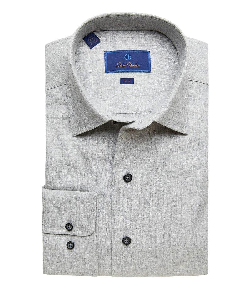 2020公式店舗 デイビッドドナヒュー メンズ シャツ トップス Trim Fit Long Sleeve Brushed Melange Fusion Shirt Gray, ナミカタチョウ 321dac78