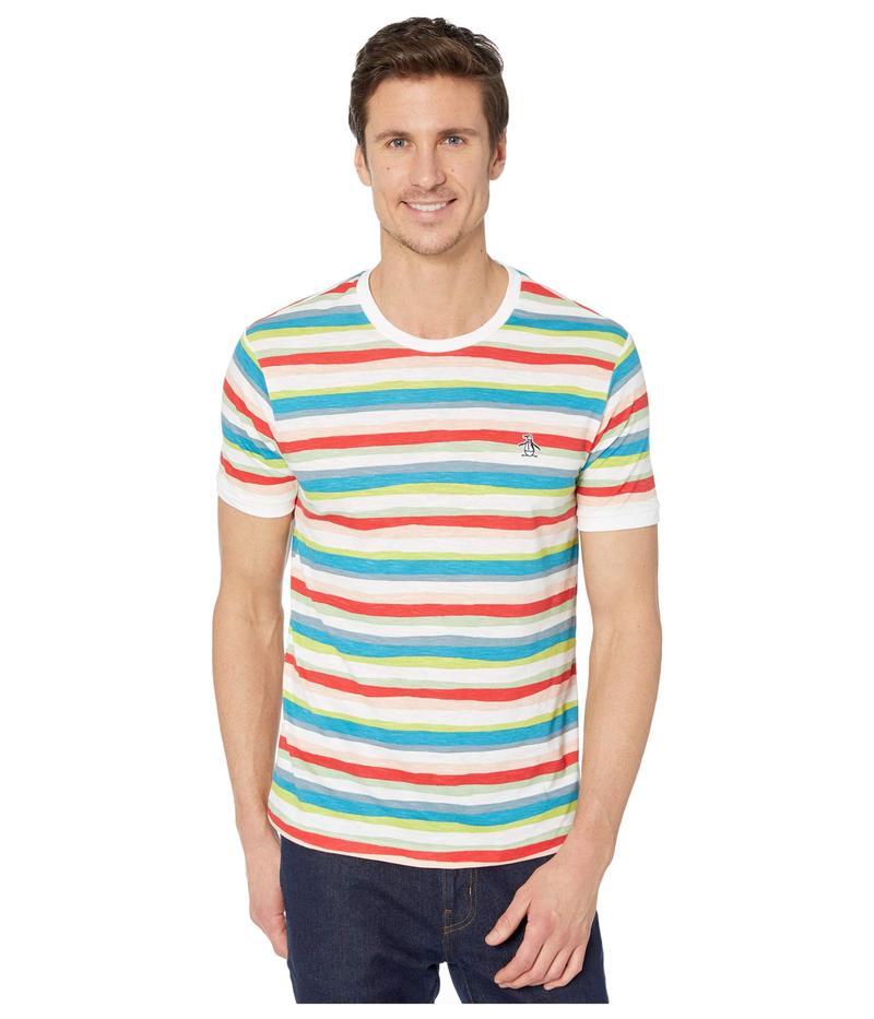 オリジナルペンギン メンズ シャツ トップス Painters Stripe Short Sleeve Tee Shirt Bright White