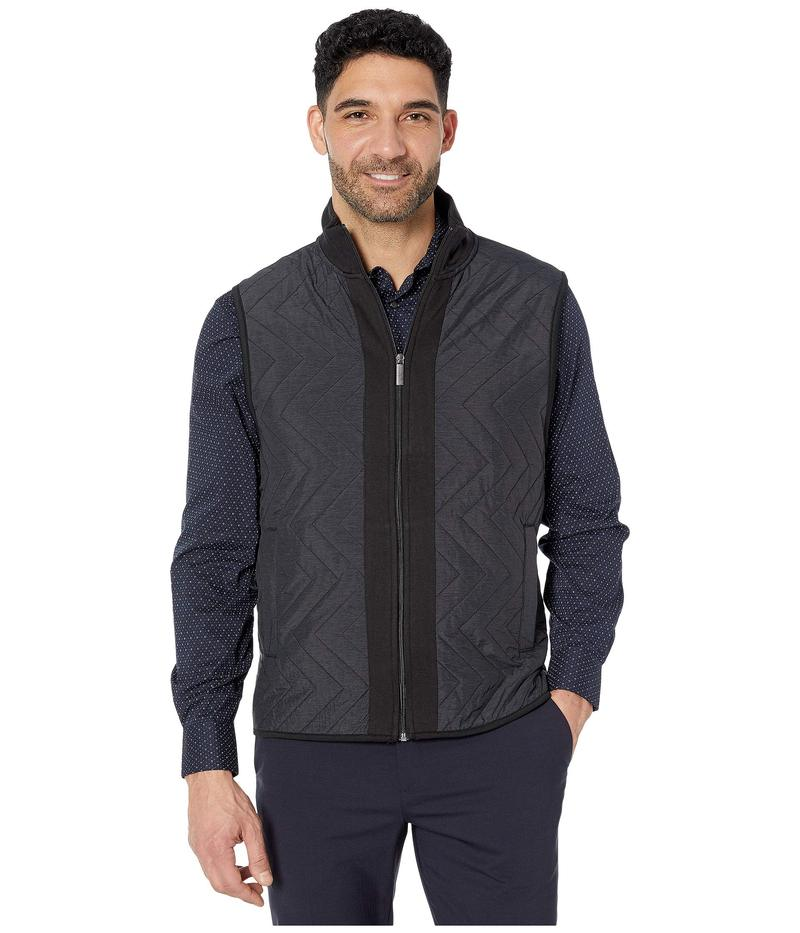 ペリーエリス メンズ コート アウター Chevron Quilt Front Ponte Full Zip Sleeveless Vest Black