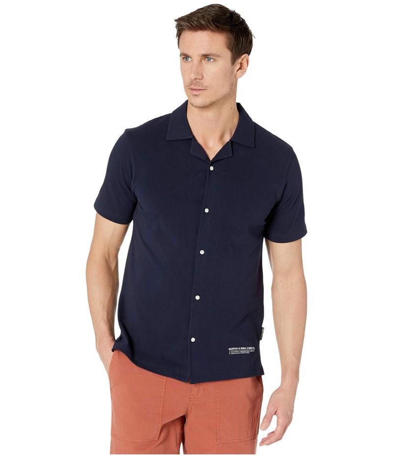 スコッチアンドソーダ メンズ シャツ トップス Short Sleeve Pique Shirt Night