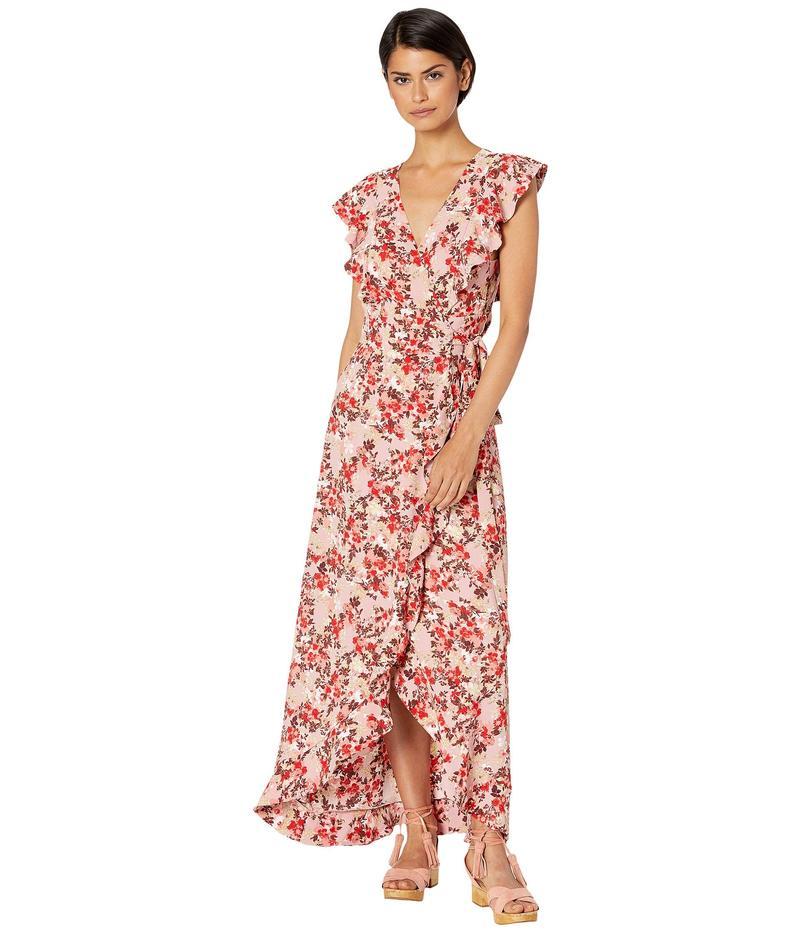 ワイフ レディース ワンピース トップス Sara Ruffle Wrap Midi Dress Pink Lemonade Floral