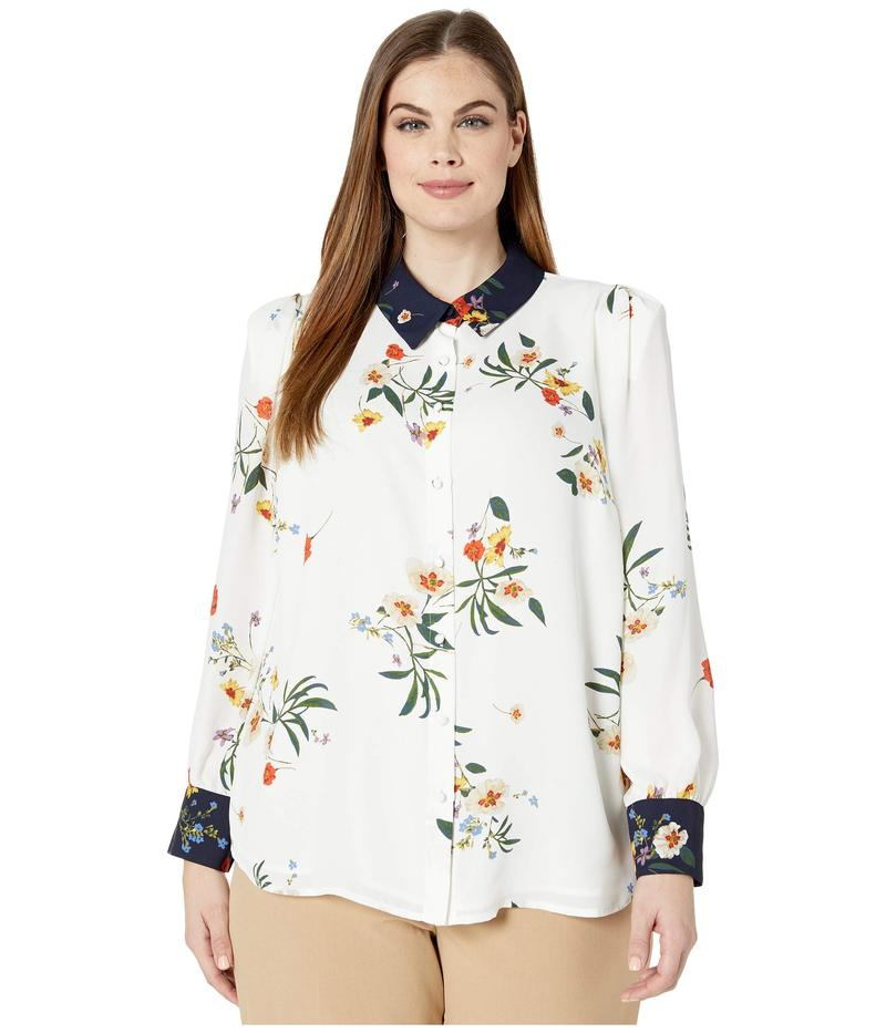 ヴィンスカムート レディース シャツ トップス Plus Size Long Sleeve Surreal Garden Button-Down Blouse Pearl Ivory