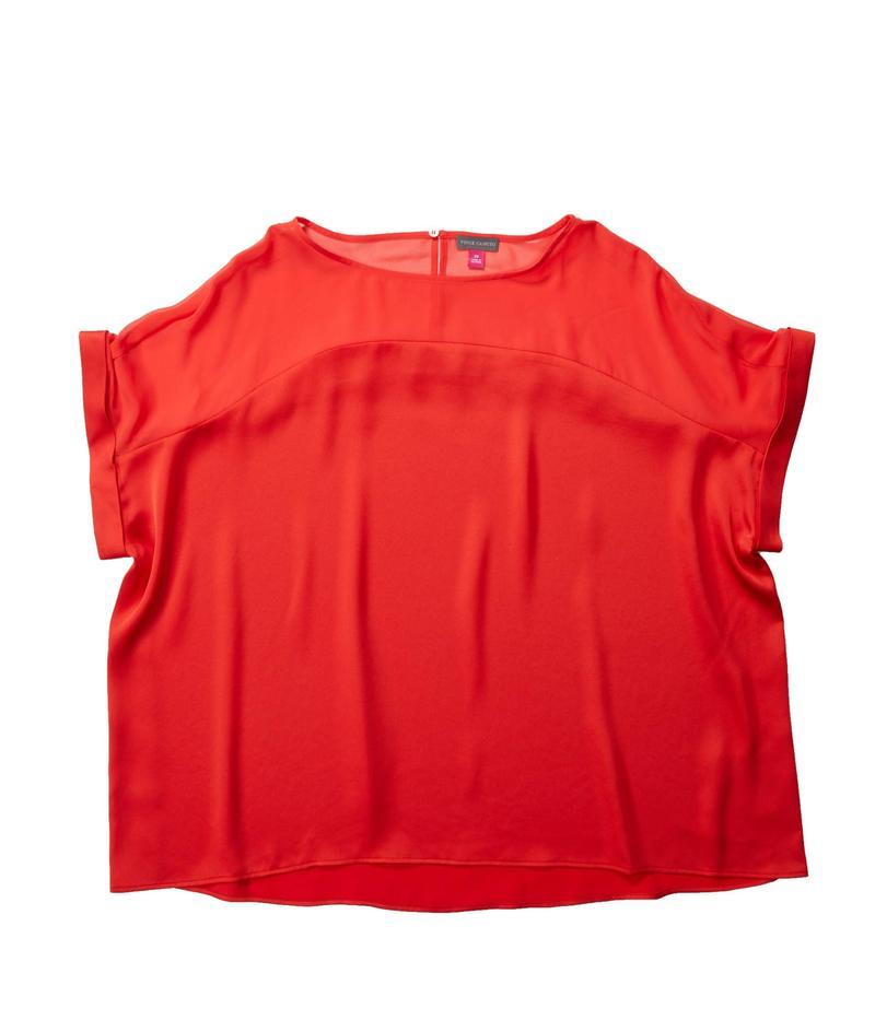 ヴィンスカムート レディース シャツ トップス Plus Size Short Sleeve Chiffon Yoke Charmeuse Blouse Bright Ladybug