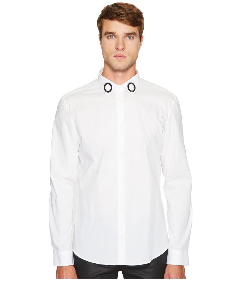 ヴェルサーチ メンズ シャツ トップス Grommet Collar Button Down White