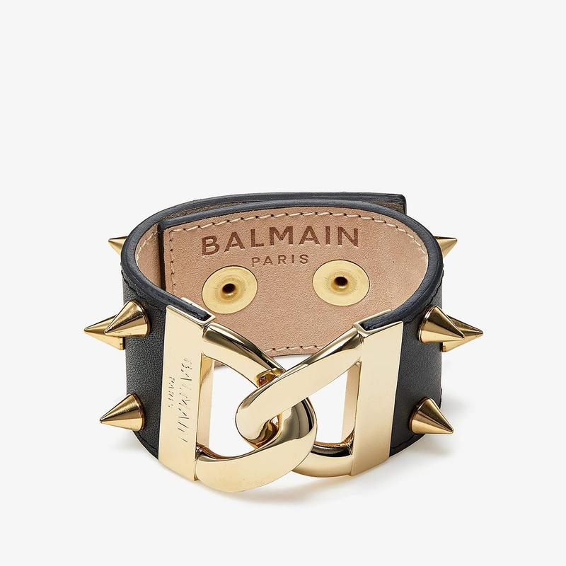 バルマン レディース ブレスレット・バングル・アンクレット アクセサリー Brass & Spikes Link Cuff Bracelet Black