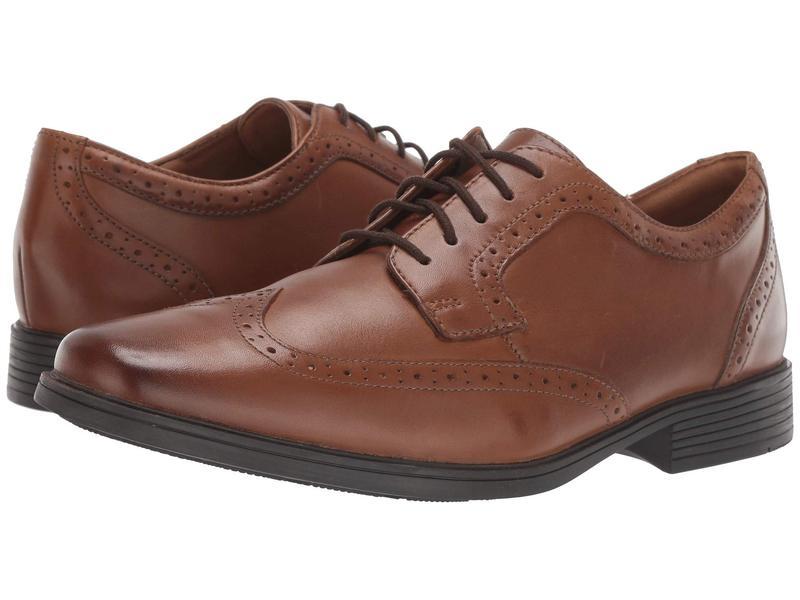 クラークス メンズ オックスフォード シューズ Tilden Wing Dark Tan Leather