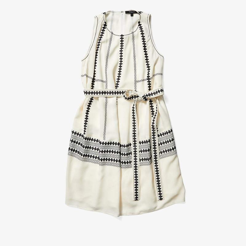 デレクラム レディース ワンピース トップス Sleeveless Embroidered Cocoon Dress White