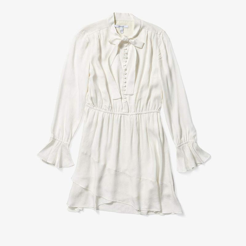 デレクラムテンクロスバイ レディース ワンピース トップス Long Sleeve Ruffle Hem Dress w/ Button Detail Bone