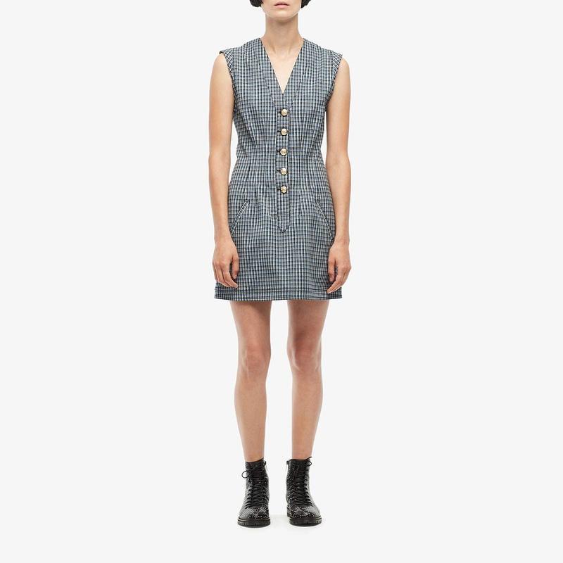 デレクラムテンクロスバイ レディース ワンピース トップス V-Neck Fit-and-Flare Dress w/ Snaps Blue Multi