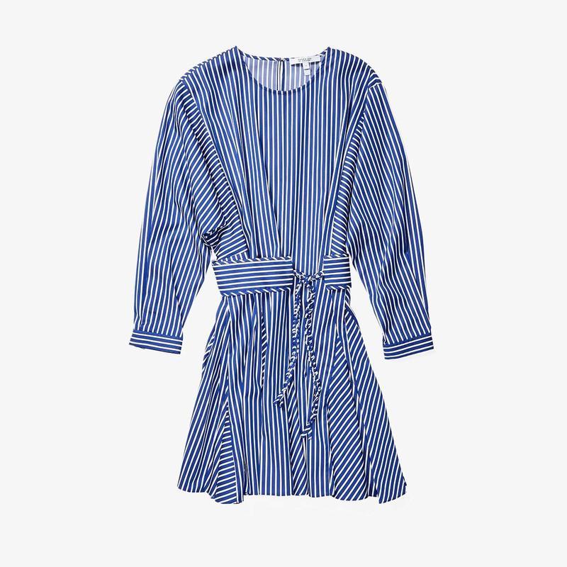 デレクラムテンクロスバイ レディース ワンピース トップス Long Sleeve Godet Skirt Dress Blue