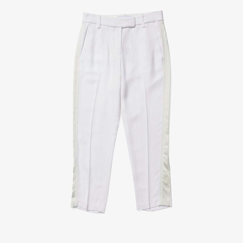 デレクラムテンクロスバイ レディース カジュアルパンツ ボトムス Tapered Pants w/ Satin Tuxedo Stripe Soft White