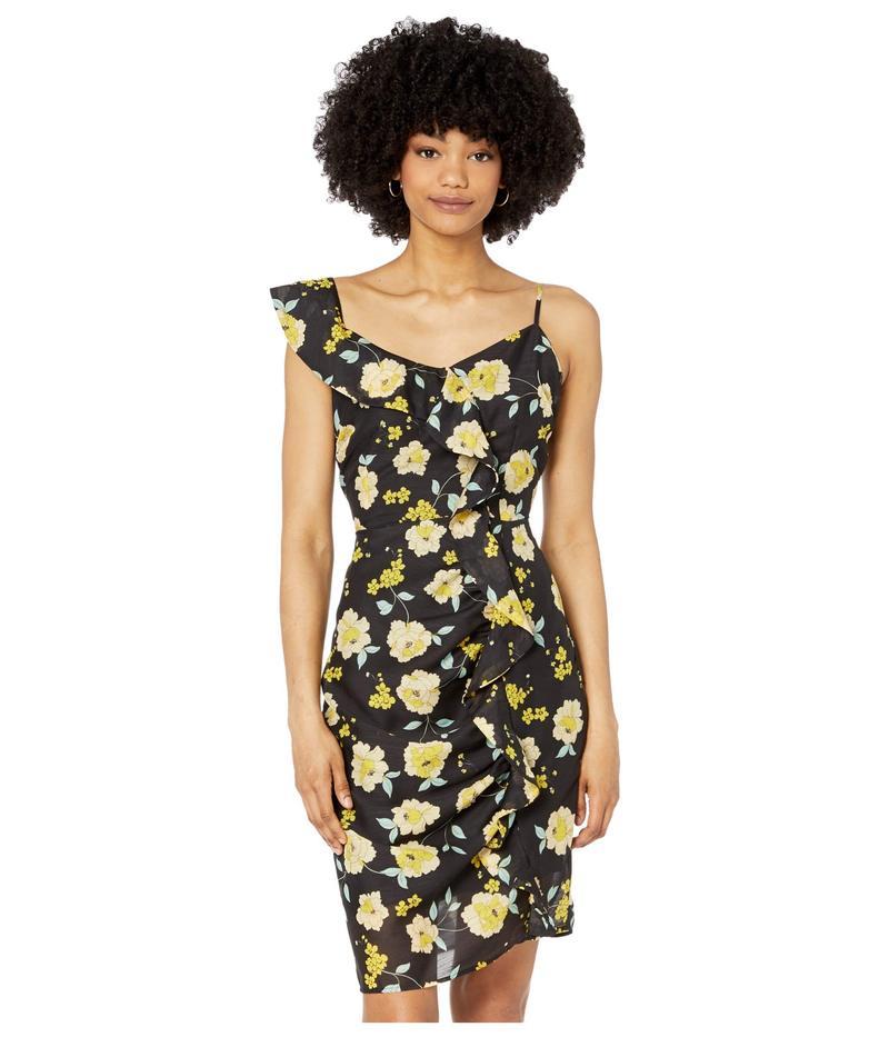 カップケーキアンドカシミア レディース ワンピース トップス Ariadne 'Sunshine Blooms' Slub Chiffon Dress Black