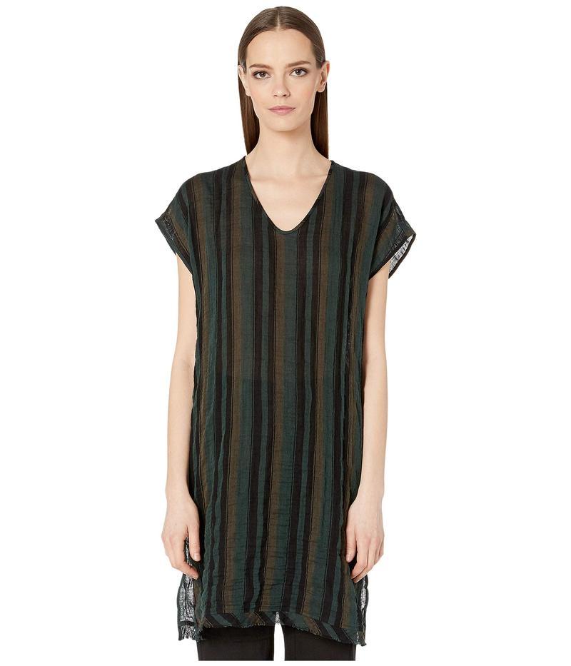 エイリーンフィッシャー レディース シャツ トップス Organic Cotton Striped Gauze V-Neck Caftan Nori