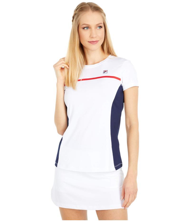 フィラ レディース シャツ トップス Heritage Tennis Short Sleeve Top White/Navy/Chinese Red