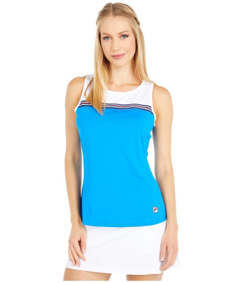 フィラ レディース シャツ トップス Heritage Tennis Sleeveless Tank Top Electric Blue/White
