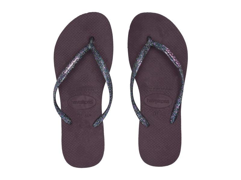 ハワイアナス レディース サンダル シューズ Slim Logo Metallic Flip Flops Aubergine/Silver