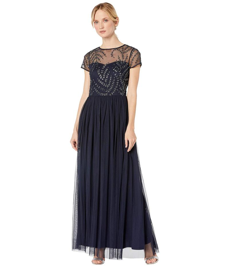 マリナ レディース ワンピース トップス Illusion Neck Beaded Bodice Gown with Tulle Skirt Navy