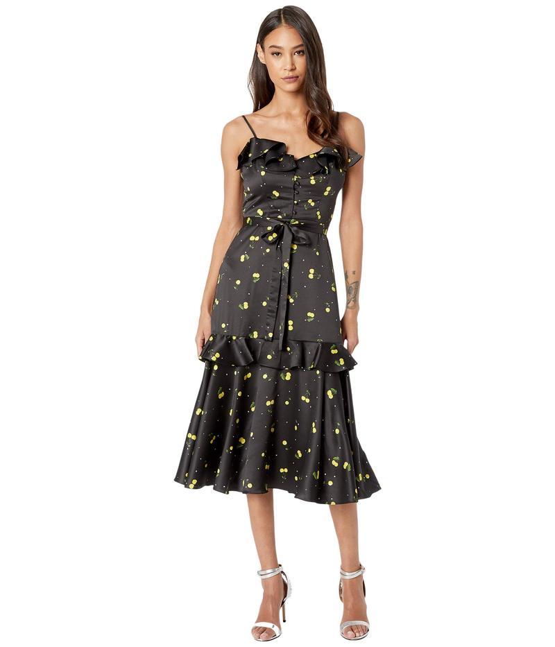 ミリー レディース ワンピース トップス Cherry Print on Stretch Satin Petal Dress Black Multi
