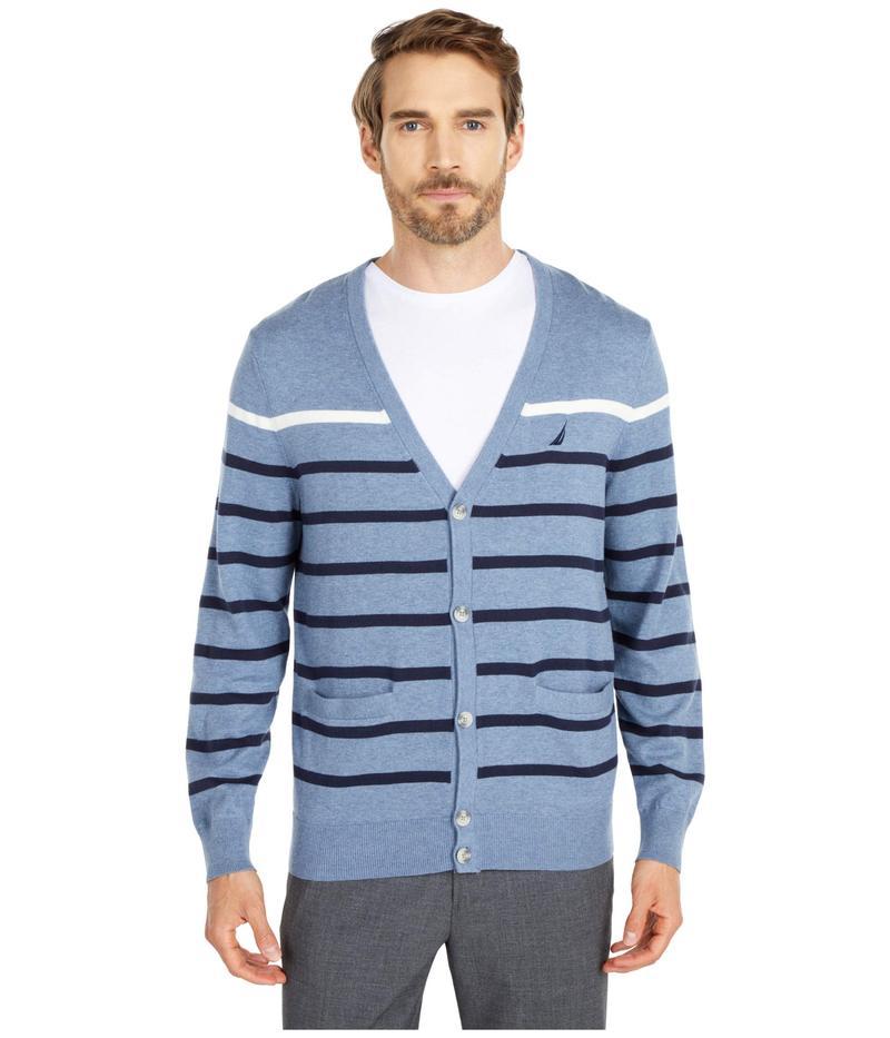 ナウティカ メンズ ニット・セーター アウター Striped Cardigan Sweater Blue