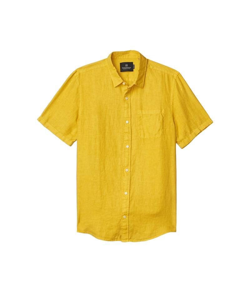 スコッチアンドソーダ メンズ シャツ トップス Regular Fit - Short Sleeve Garment - Dyed Linen Shirt Saffron