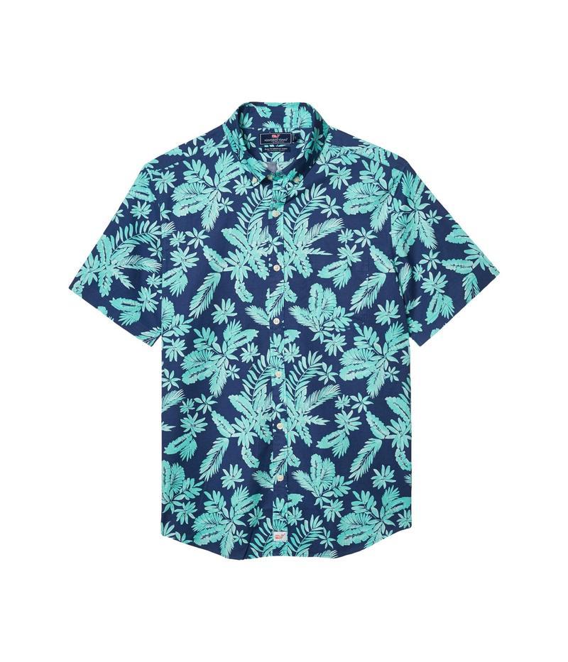 ヴァインヤードヴァインズ メンズ シャツ トップス Slim Fit Tropical Leaves Murray Short-Sleeve Button-Down Shirt Antigua Green