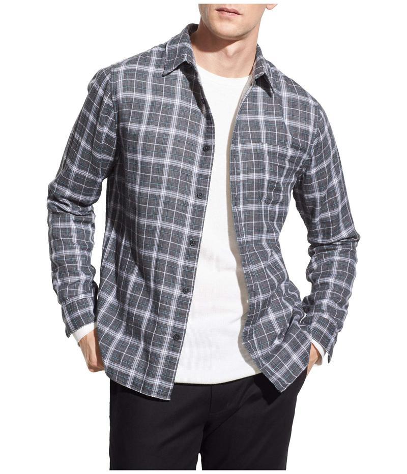 ヴィンス メンズ シャツ トップス Double Face Windowpane Plaid Shirt Medium Heather Grey