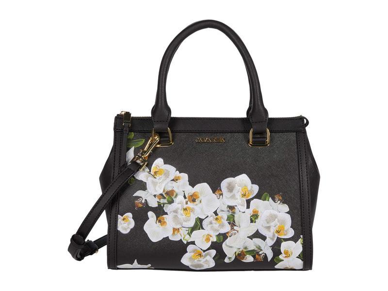 カルバンクライン レディース ハンドバッグ バッグ Janae - Mothers Day Print Saffiano Satchel Black Orchid