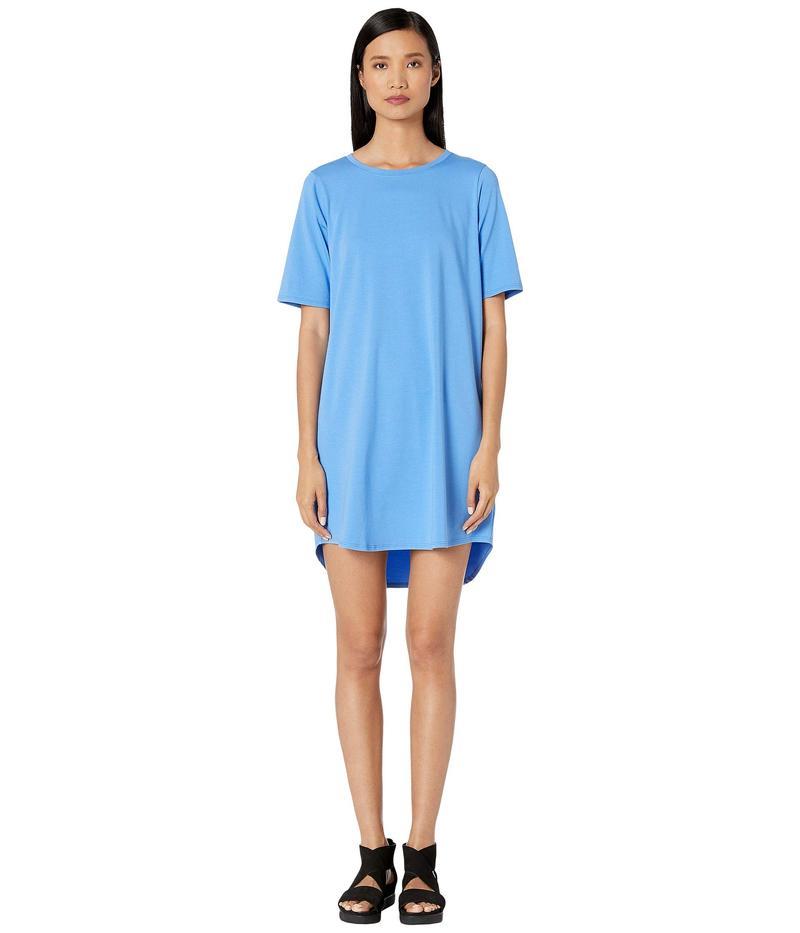 エイリーンフィッシャー レディース ワンピース トップス Organic Cotton Stretch Jersey Round Neck Elbow Sleeve Knee Length Dress Horizon