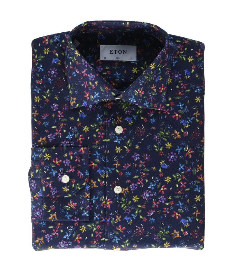エトン メンズ シャツ トップス Slim Fit Twill Floral Print Button-Down Navy