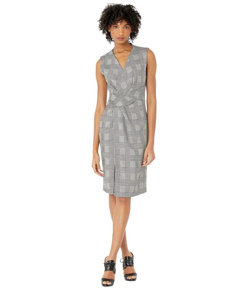 アダム リピズ レディース ワンピース トップス Double Faced Plaid Wool V-Neck Dress w/ Draped Waist Black/White