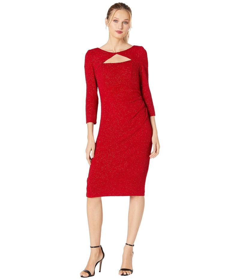 アレックスイブニングス レディース ワンピース トップス Midi Length Sheath Dress with Cutout Neckline Red
