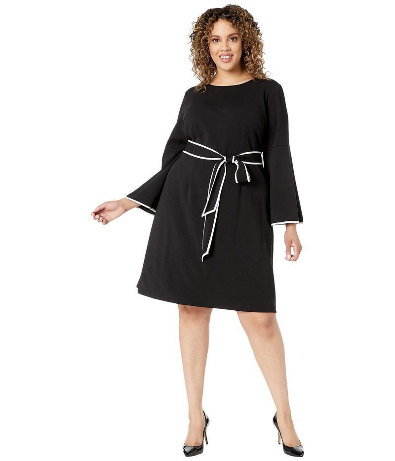 アドリアナ パペル レディース ワンピース トップス Plus Size Knit Crepe A-Line Dress w/ Contrast Trim Detail Black/Ivory