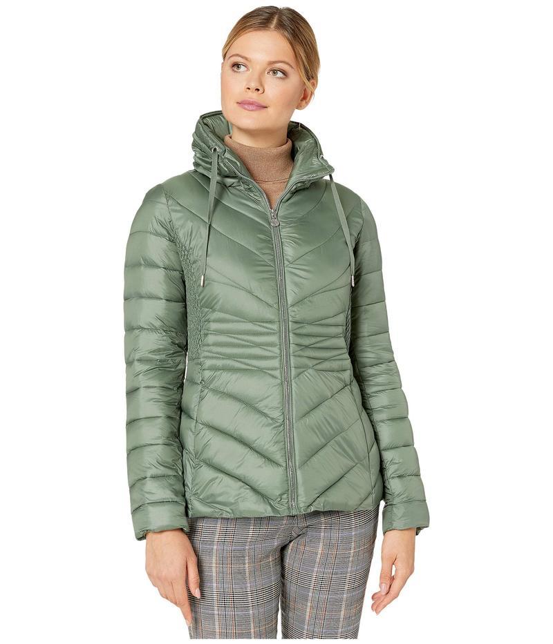 ベルナルド ファッションズ レディース コート アウター EcoPlume Packable Chevron Puffer Jacket Miss Basil Green