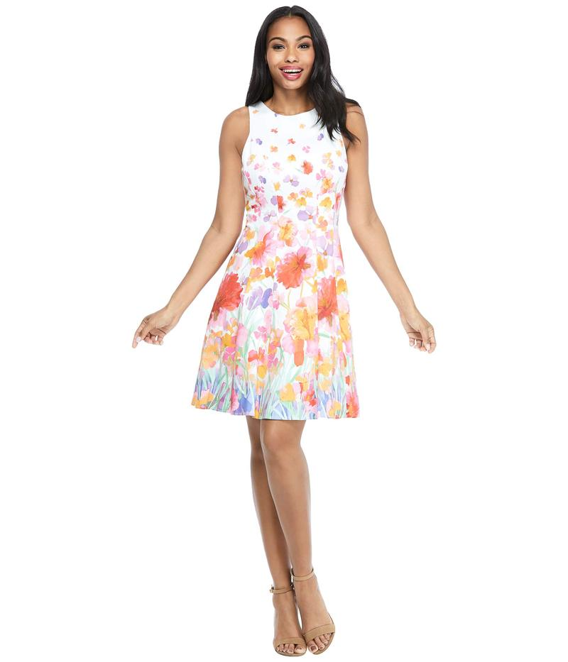 マギーロンドン レディース ワンピース トップス Watercolor Iris Fit-and-Flare Dress Soft White/Red