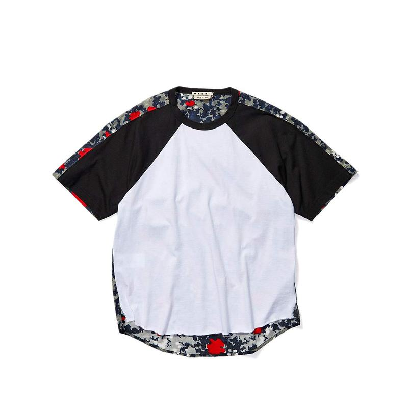 マルニ メンズ シャツ トップス Mixed Media Print T-Shirt White/Black/Floating Buds Print